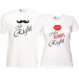 "Set Tricouri Albe ""Mr. Right & Mrs. ALWAYS Right"""